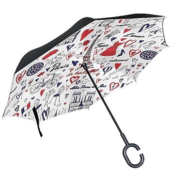 ALAZA Torre Eiffel de París Corazones Amor vino Francia blanco puede paraguas paraguas plegable de doble