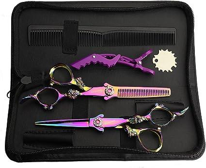 Tijeras de peluquería, tijeras de peluquería, tijeras de corte de pelo con estuche de presentación: Amazon.es: Belleza