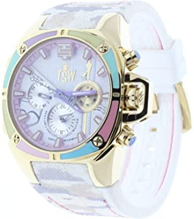 Technosport Dreamline 38mm Beige Camo Jean Rubber Strap Swiss Multifunction Womens Watch TS-100-