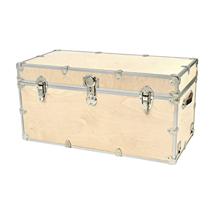 Charmant XXLarge Birch Unfinished Wooden Cube Storage Trunk With Removable Wheels