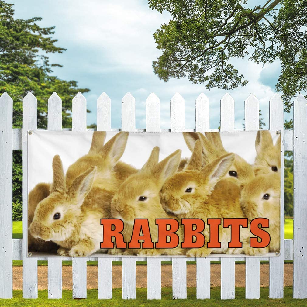 Vinyl Banner Multiple Sizes Rabbits Outdoor Advertising Printing Lifestyle Outdoor Weatherproof Industrial Yard Signs 10 Grommets 60x144Inches