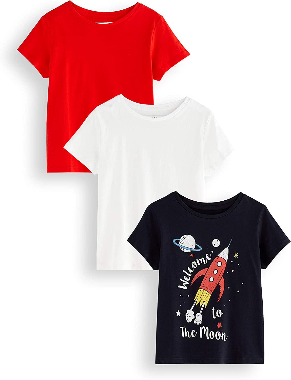 RED WAGON T-shirt con Stampa Welcome To The Moon Bambino Pacco da 3