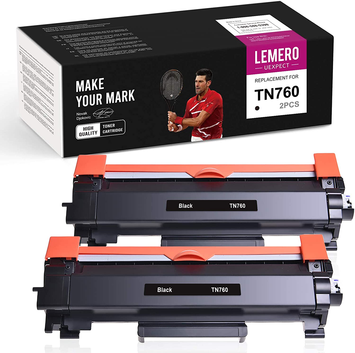 LemeroUexpect Compatible Toner Cartridge Replacement for Brother TN760 TN-760 TN730 to Use with HL-L2350DW HL-L2395DW HL-L2390DW HL-L2370DW MFC-L2750DW MFC-L2710DW DCP-L2550DW (Black,2 Pack)