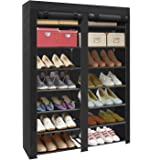 ERONE Shoe Rack Storage Organizer , 28 Pairs Portable Double Row with Nonwoven Fabric Cover Shoe Rack Cabinet for Closet (Bla