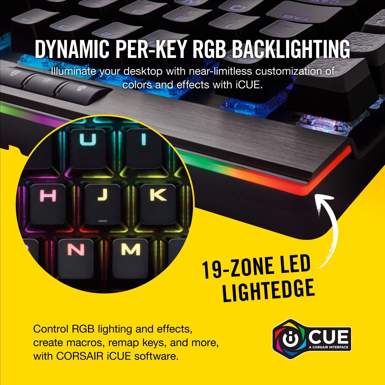 Corsair K95 RGB Platinum Mechanical Gaming Keyboard - 6x Programmable Macro  Keys - USB Passthrough & Media Controls - Tactile & Quiet - Cherry MX