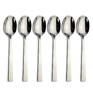 Acero inoxidable 18/8 de alta calidad cuchara tenedor cuchillo cubertería de acero inoxidable Vajilla Vajilla... Tea Spoon Stainless Steel Silver: ...