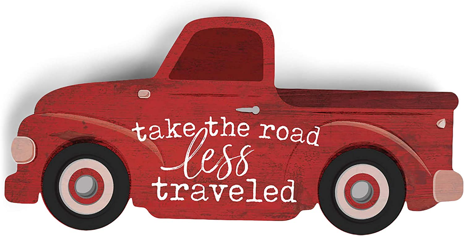 P. Graham Dunn Take The Road Less Traveled Truck Red 5.25 x 2.5 Pine Wood Small Tabletop Plaque