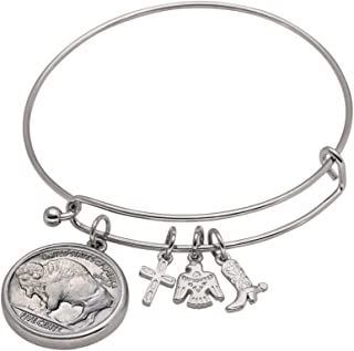 product image for Western Charm Silver Tone Dateless Buffalo Nickel Reverse Coin Bangle Bracelet
