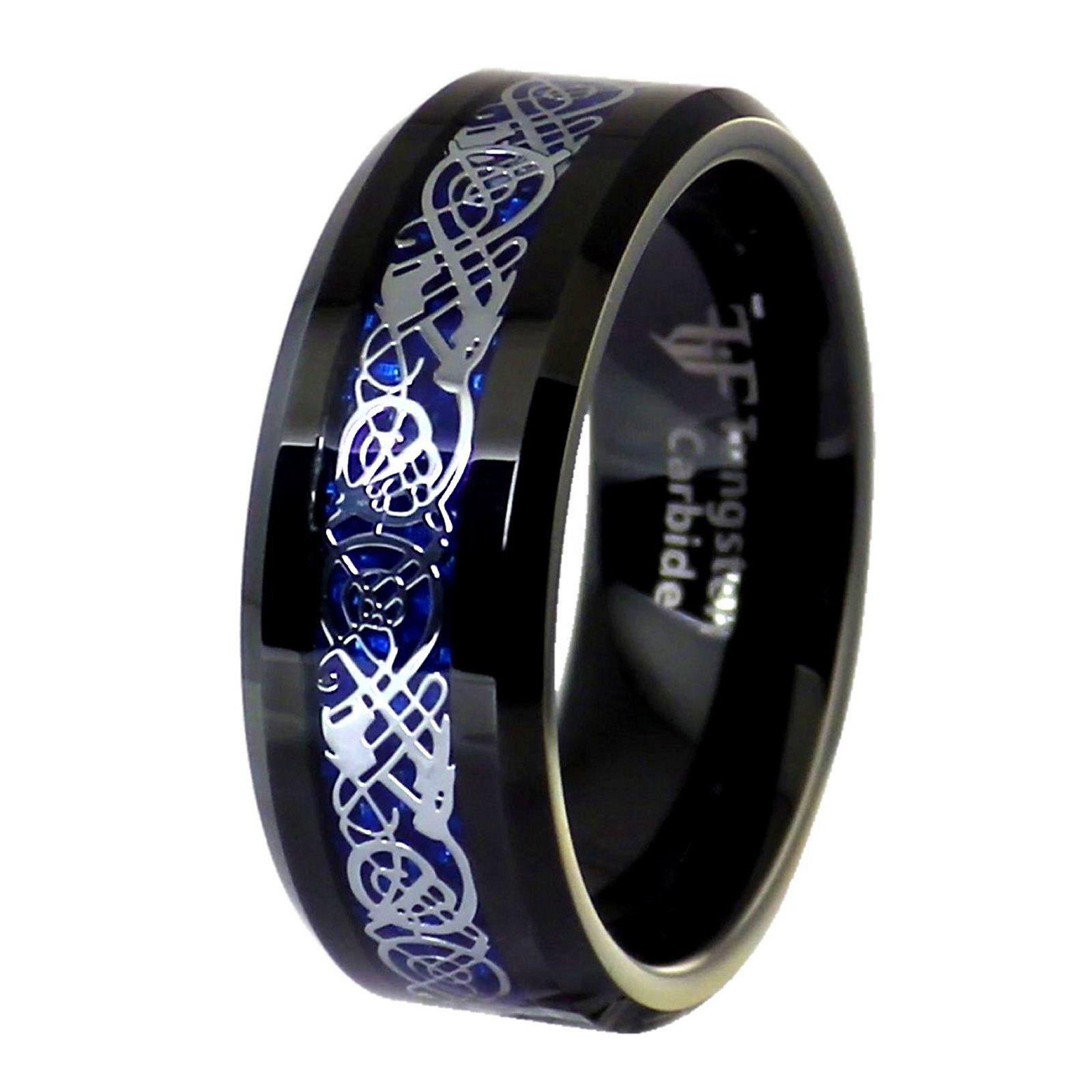 Fantasy Forge Jewelry Blue Carbon Fiber Celtic Dragon Black Tungsten Ring Size 17