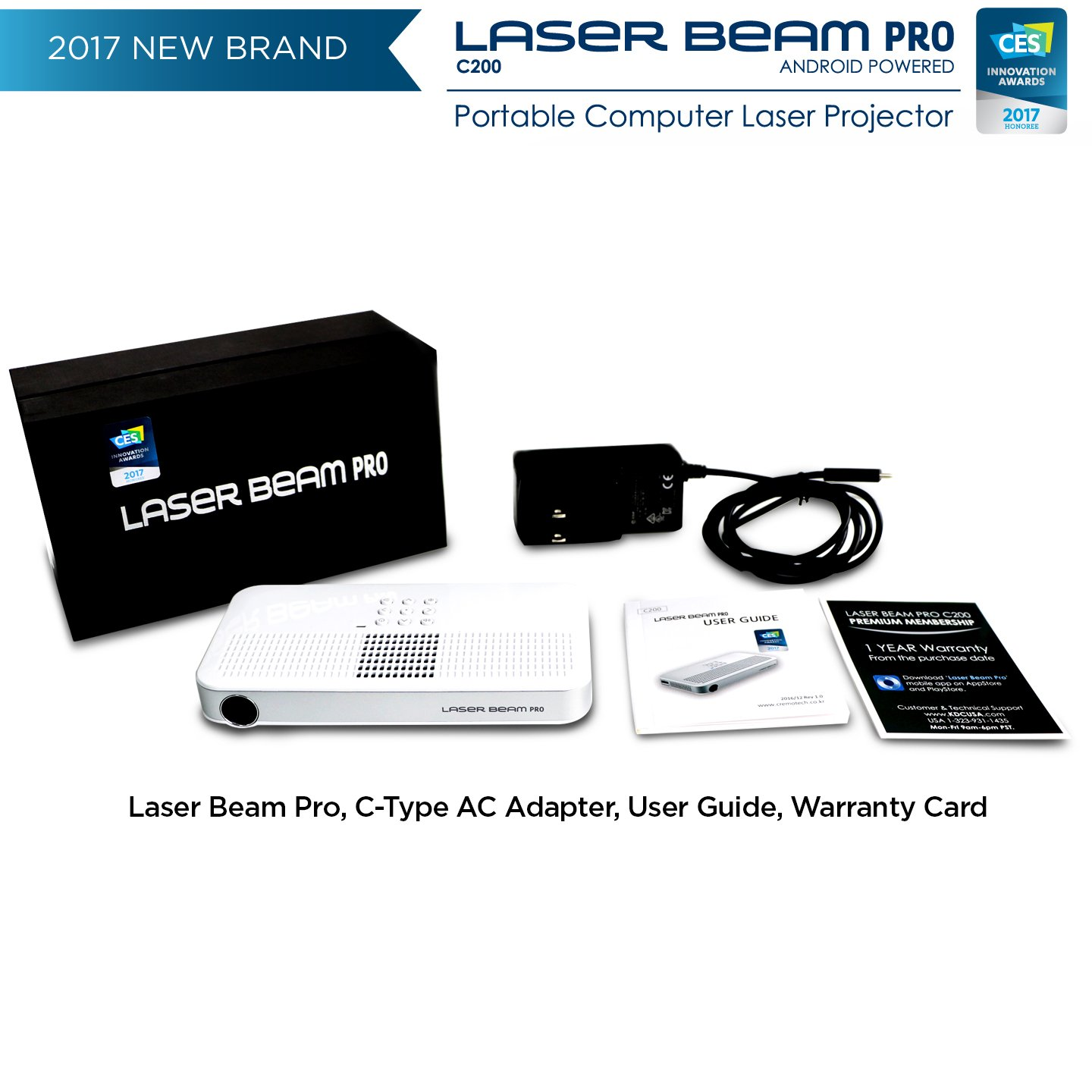 """Laser Beam Pro C200, FDA Assessed Class 1 Laser projector, Focus Fee 20-150"""", HD 768P native resolution, 120 min rechargeable battery, compatible w/ HDMI support devices, built-in Internet, YouTube by Laser Beam Pro (Image #5)"""