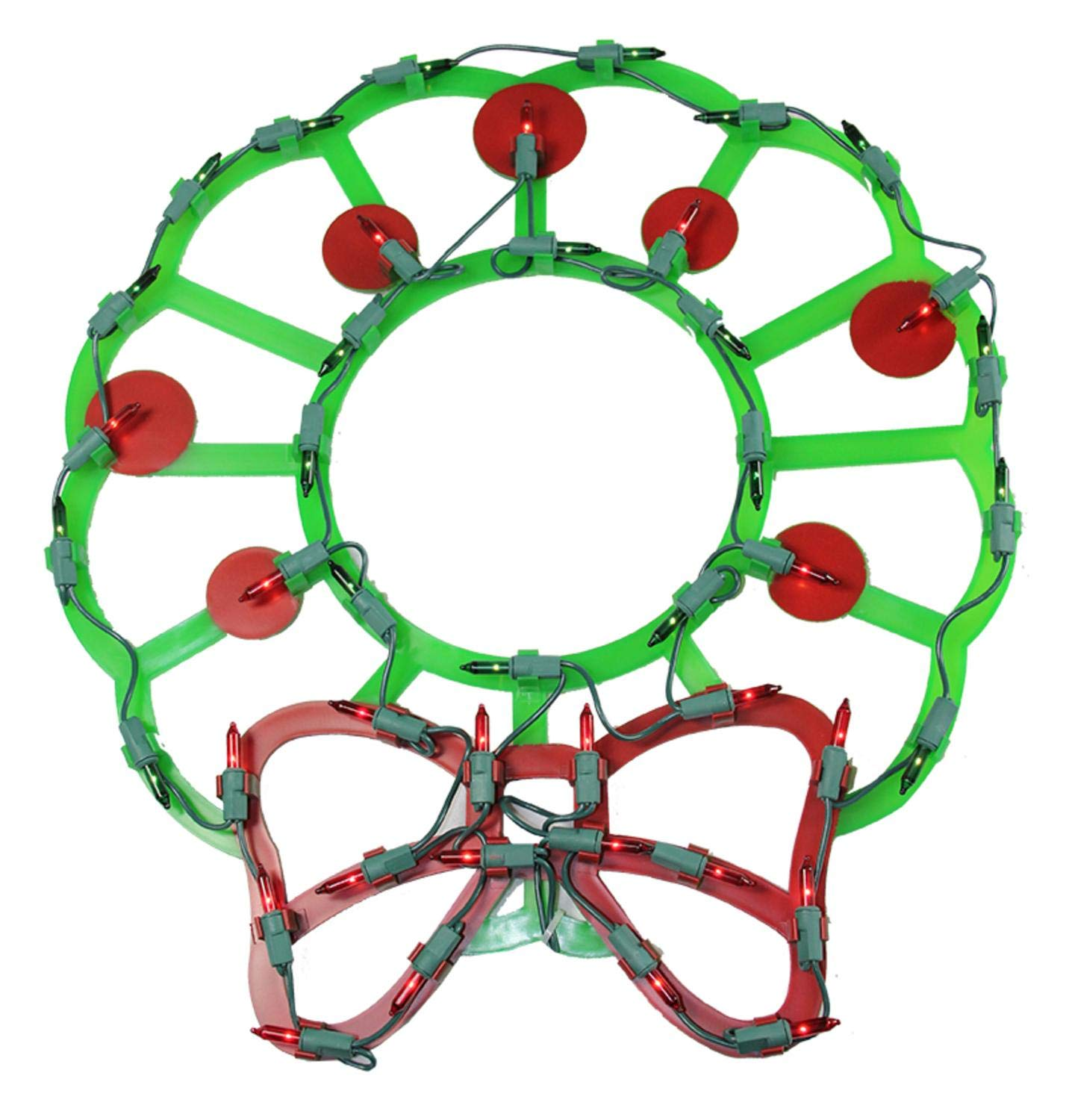 Northlight Lighted Wreath with Bow and Red Berries Christmas Window Silhouette Decoration, 15''
