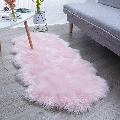 HLZHOU New 2019 Upgraded Non-Slip Faux Fur Rug, Fluffy Rug, Shaggy Rugs,Faux Sheepskin Rugs Floor Carpet for Bedrooms Living Room Kids Rooms Decor 2×5.3 Feet 60 x 160cm , Double Shape Pink