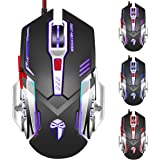 3200 DPI Gaming Mouse,Optical USB Wired Gaming Mouse PC Mouse Computer Mouse with 6 Programable Buttons 5 Color Cycle Breathing Metal Base High Precision for Pro Gamer/PC /Laptop /Desktop