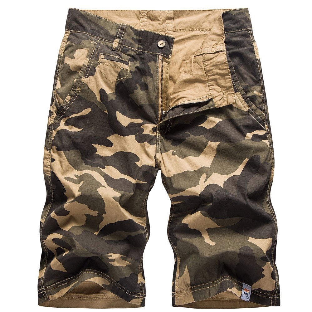 HHGKED Personalized Men's Camouflage Solid Color Cargo Shorts