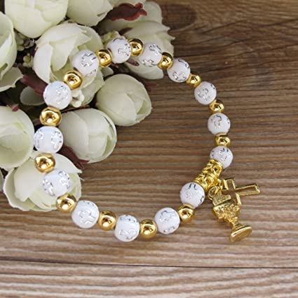 12 FIRST COMMUNION BAUTIZO ANGEL BRACELET PARTY FAVORS RECUERDOS COMUNION BABY