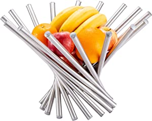 Hello Cucina Decorative Stainless Steel Rotation Fruit Bowl - Unique Design Modern Fruit Basket - Fruit Storage Stand With Open Design