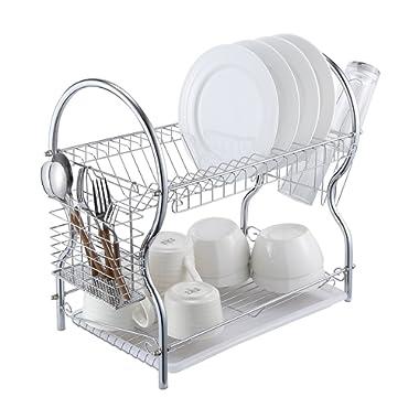 Dish Drying Rack - 2-Tier Chrome Kitchen Dish Drainer Rack Organizer with Drain Board ALHAKIN
