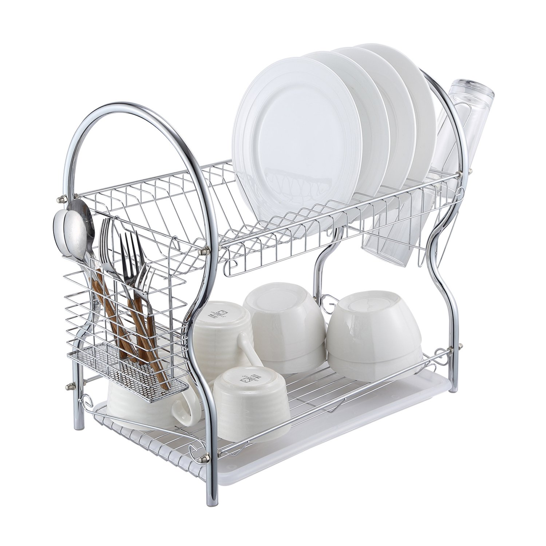 Dish Drying Racks - 2-Tier Chrome Kitchen Dish Drainer Rack Organizer with Drain Board ALHAKIN
