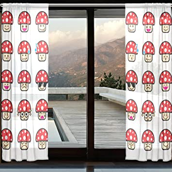 COOSUN Emoji Sammlung Unterschied Emoticon Pilz Cartoon Sheer Vorhang  Panels Tüll Polyester Voile Fenster Behandlung Panel