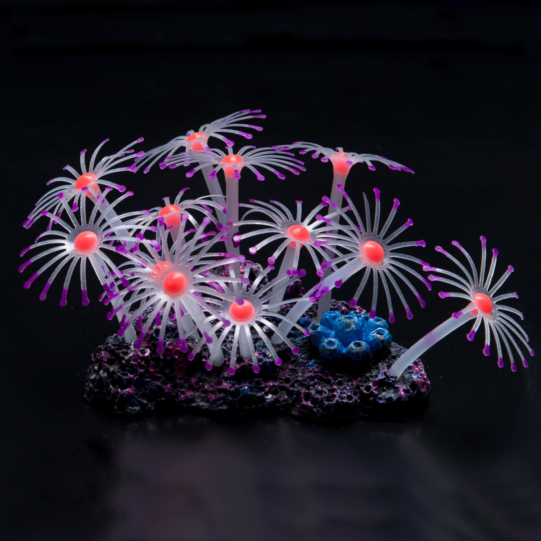 (Purple) Uniclife Glowing Effect Artificial Coral Plant for Fish Tank, Decorative Aquarium Ornament