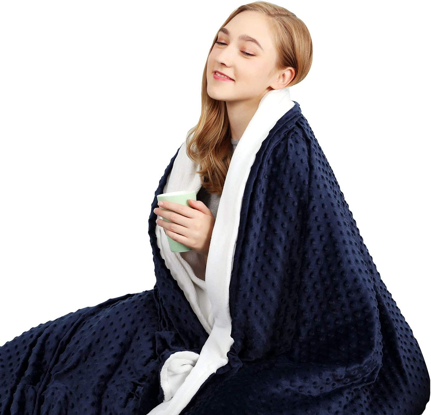 """CHIAVE Weighted Blanket 15 Lbs 48""""x 72"""" Full Size I for Adults and Teens from 125-175 lbs   Plush Minky Removable and Washable Cover - Navy and White"""