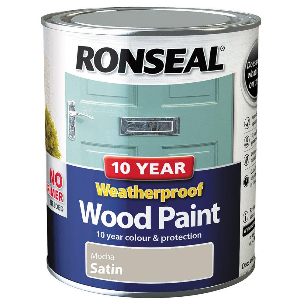 Ronseal 10 Year Weatherproof 2-in-1 Wood Paint Black Gloss 750ml