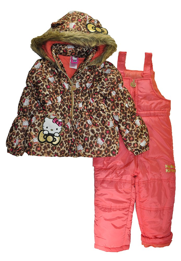 Hello Kitty Little Girls 2pc Printed Snowsuit (Leopard, 2T) by Hello Kitty