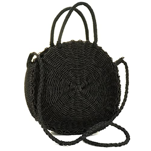 Straw Crossbody Bag Women Weave Shoulder Bag Round Summer Beach Purse and  Handbags (Black)