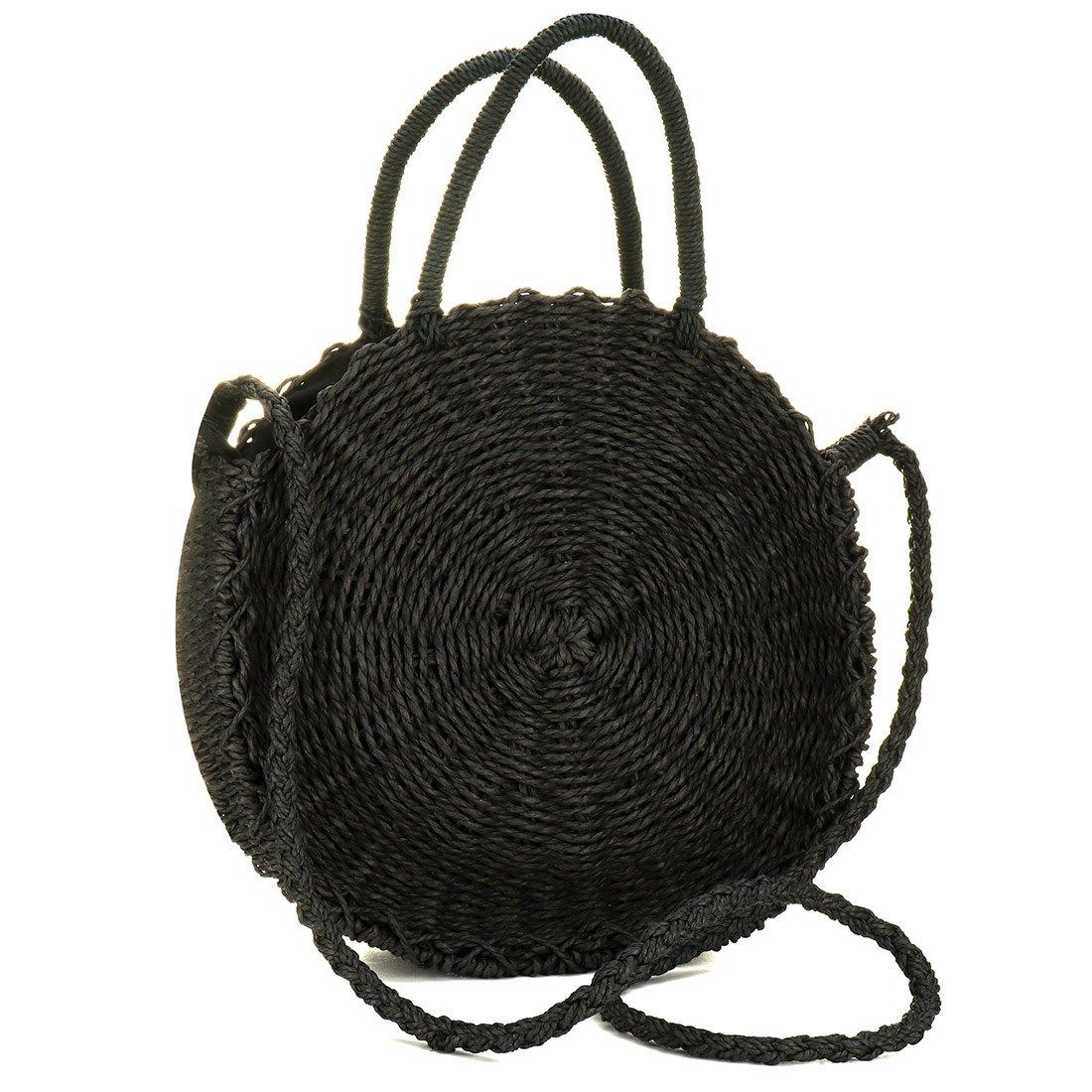 EROGE Straw Crossbody Bag Women Weave Shoulder Bag Round Summer Beach Purse Handbags (Black)