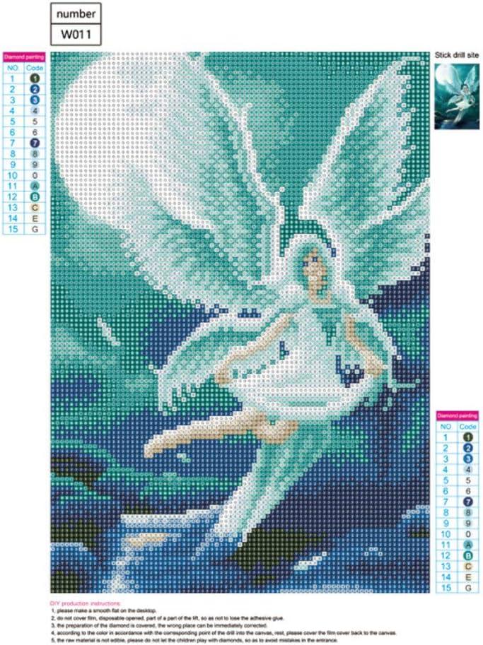 Taille unique Wuayi Ailes dange DIY 5D Peinture diamant Full Drills Cristal Broderie Strass Coll/é Picture Point de croix Kit pour d/écoration murale de maison B:40x30cm Peinture diamant 5D