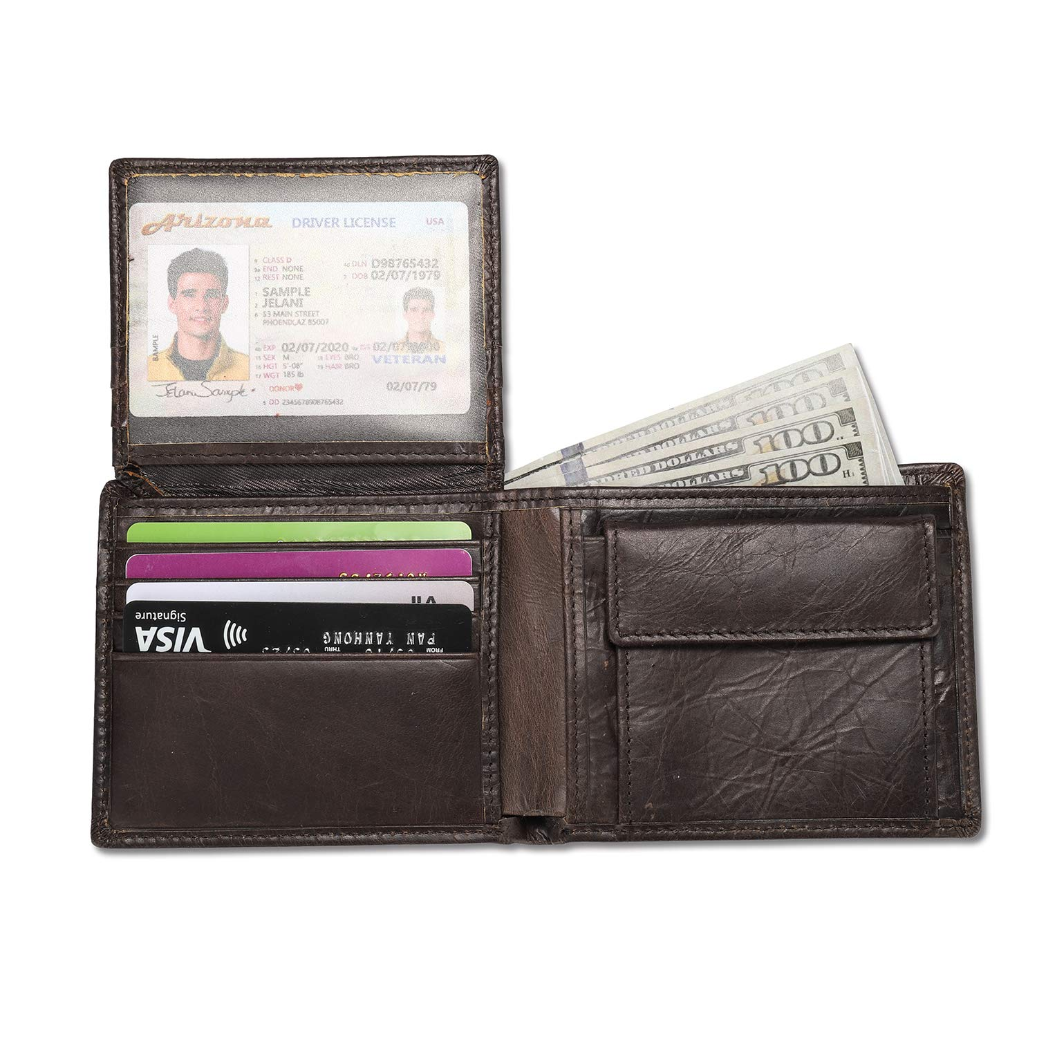 RFID Blocking Wallet for Men, Luxury Genuine Leather Bifold Wallet Credit Card Case Holder with Coin Pocket (Dark Coffee) by Peny Eidy
