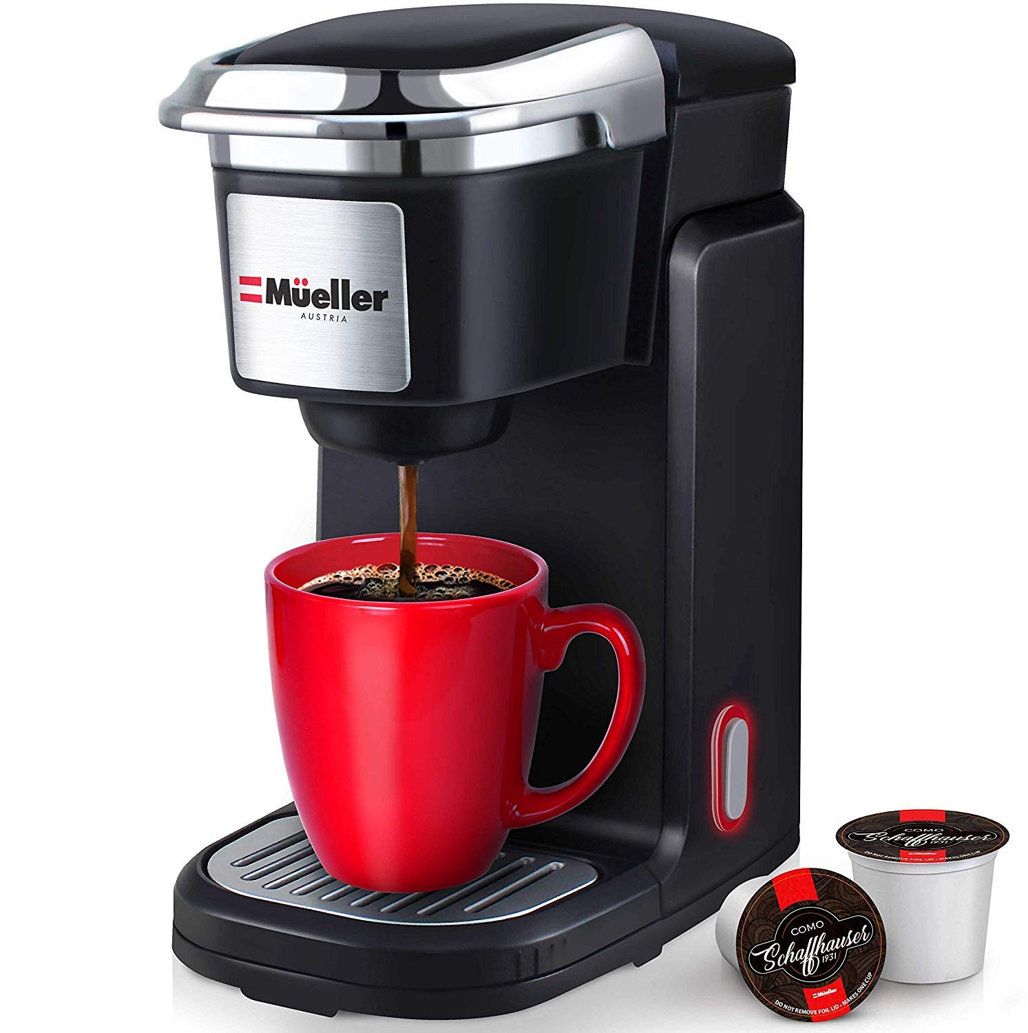 Mueller Barista Pro Single Serve Brewer 10oz Coffee Maker Machine with One Button Operation, Auto Shut-Off, Compatible with All Coffee Capsules by Mueller Austria