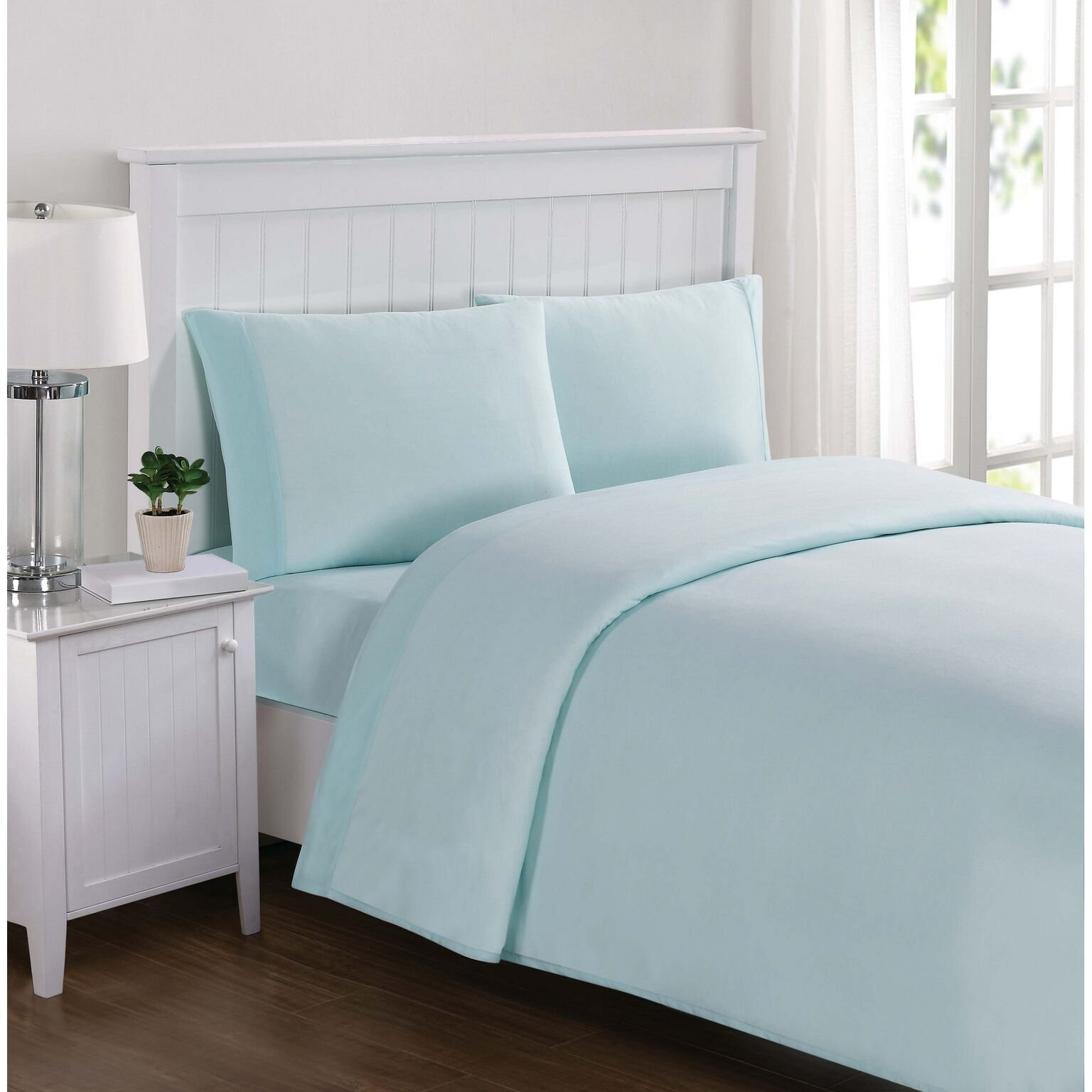 Truly Soft Solid Jersey Aqua Twin Sheet Set