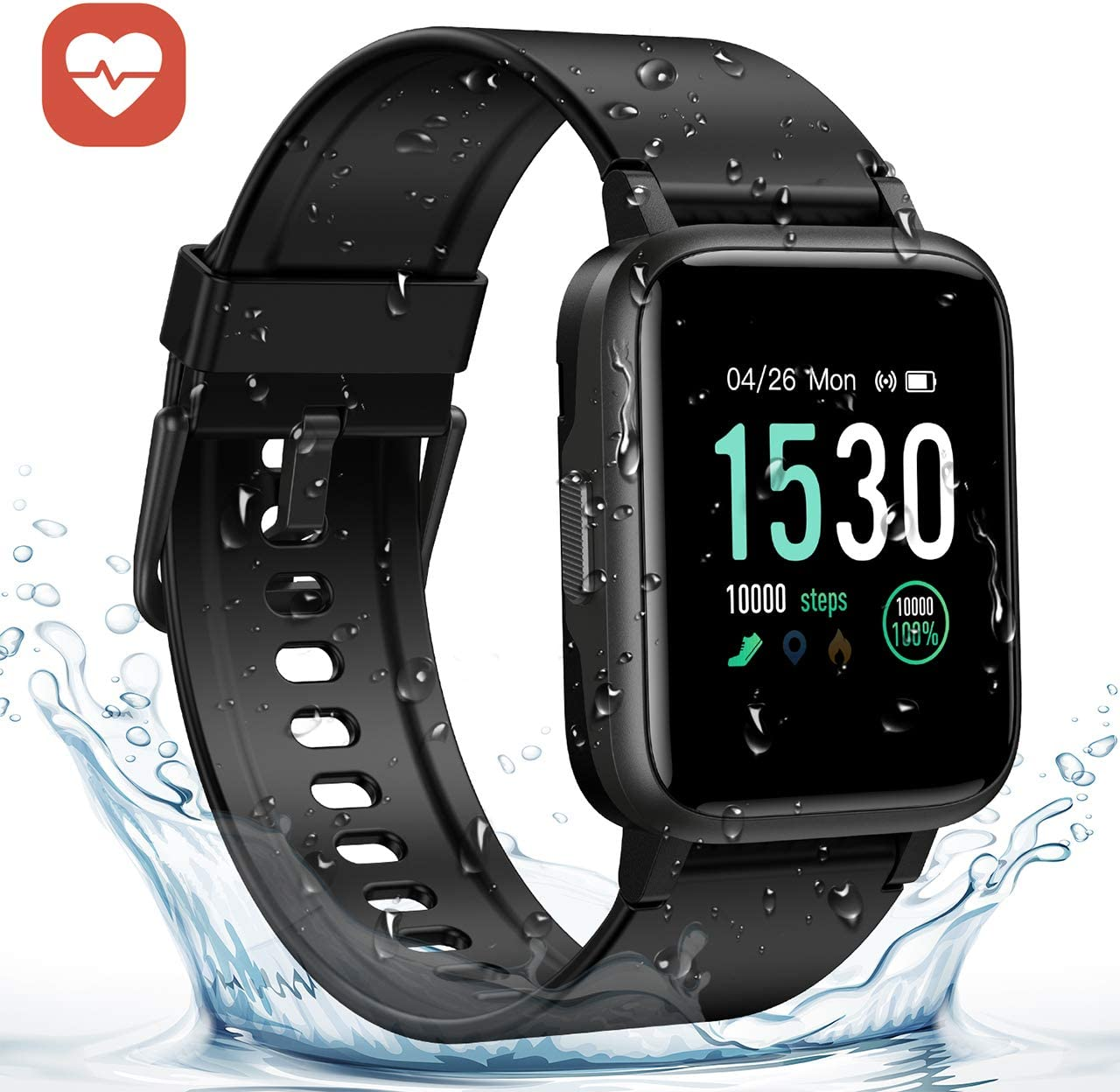 GRM Fitness Tracker with Heart Rate Monitor, Activity Tracker Watch Full 1.3 Color Screen Smart Watch Waterproof Sleep Monitor Step Calorie Counter, Pedometer for Women, Men and Kids Black
