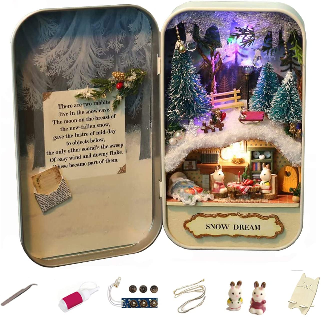 MAGQOO 3D Wooden Dollhouse Miniature DIY Doll House Kit with Furniture,1:24 DIY Box Theater Kit (Snow Dream)
