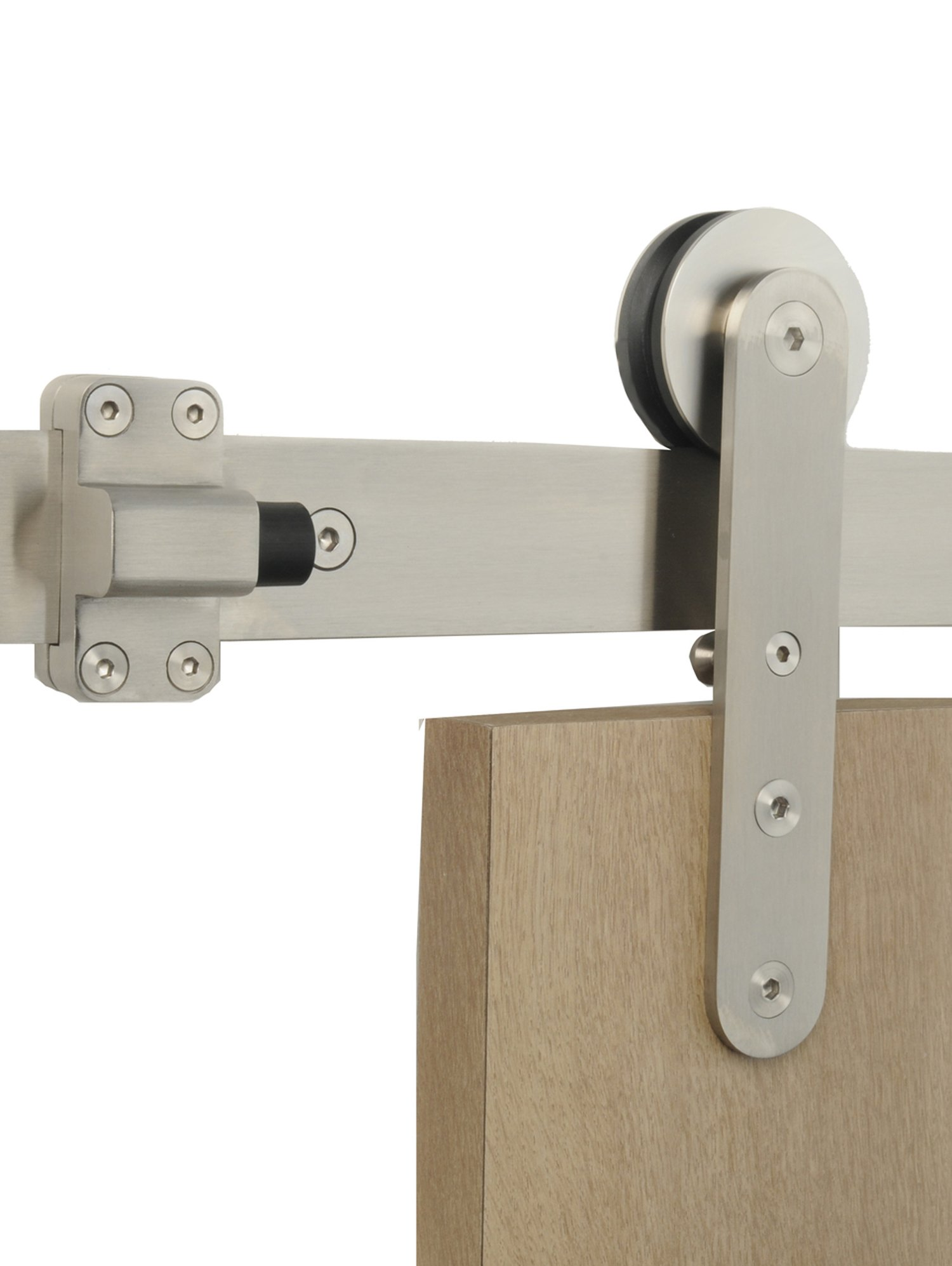 Contemporary Flat Track Stainless Steel Sliding Barn Door Hardware for Wood Doors / Satin Finish - Torch WF Series (7 Feet Rail Length)