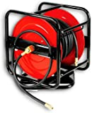 "SuperHandy Air Hose Reel Retractable 3/8"" x 50' or Portable 360° Pivoting Hand Crank Reel 1/4"" x 100' (1/4"" x 100' FT 360° PIVOTING HAND CRANK AIR/WATER HOSE REEL)"