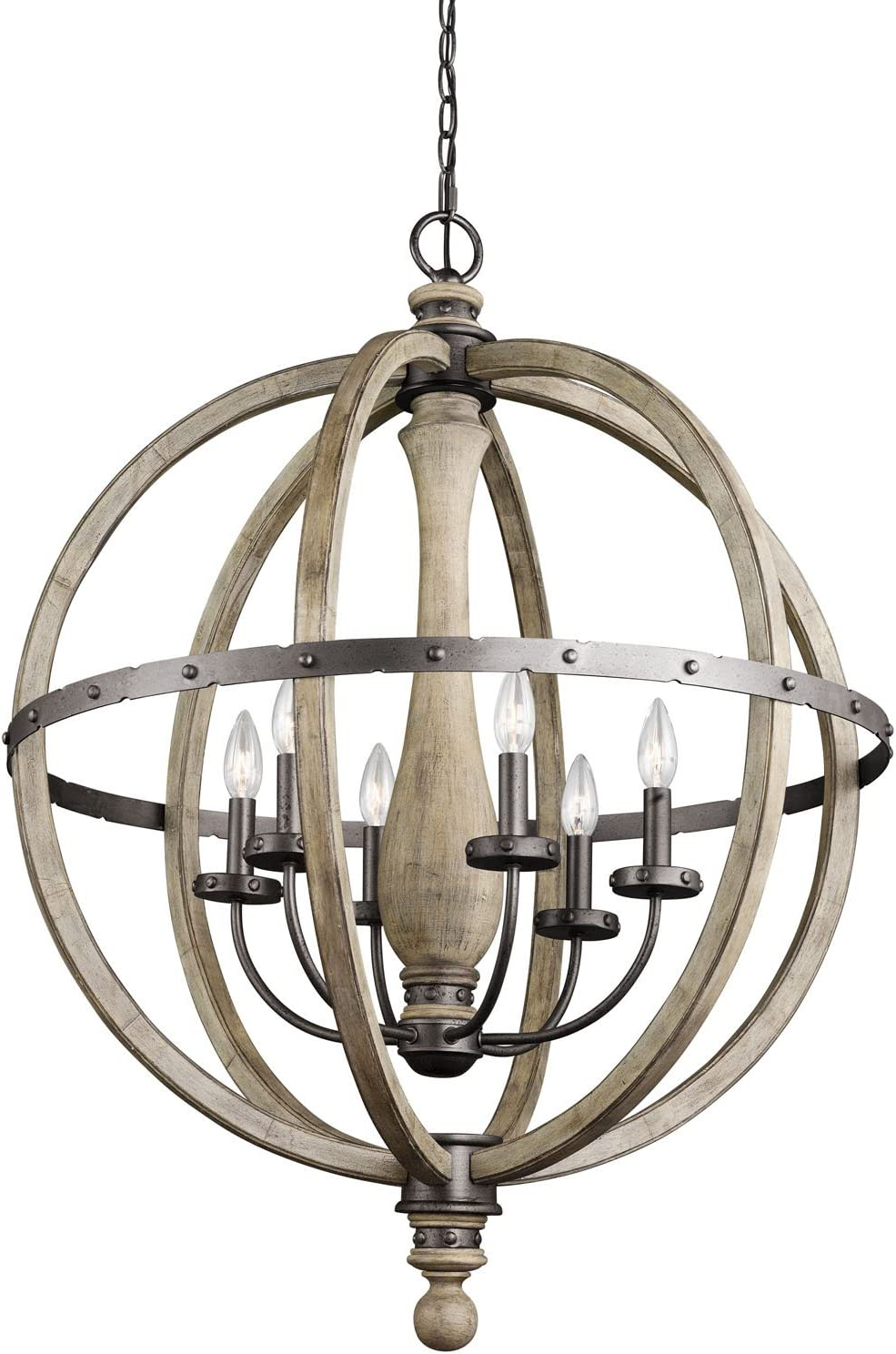 Kichler 43327DAG, Evan Candle Chandelier Light, 6 Light, 450 Watts, Distressed Antique Gray