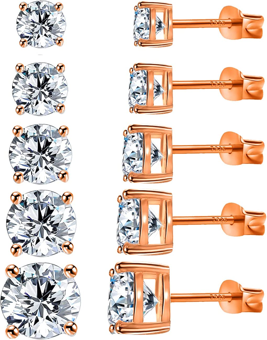 TTOCH Stud Earrings 18K Gold Plated 925 Sterling Silver Post Cubic Zirconia Simulated Diamond Earrings 5 Pairs Ear Stud Set for Women/Girl/Men