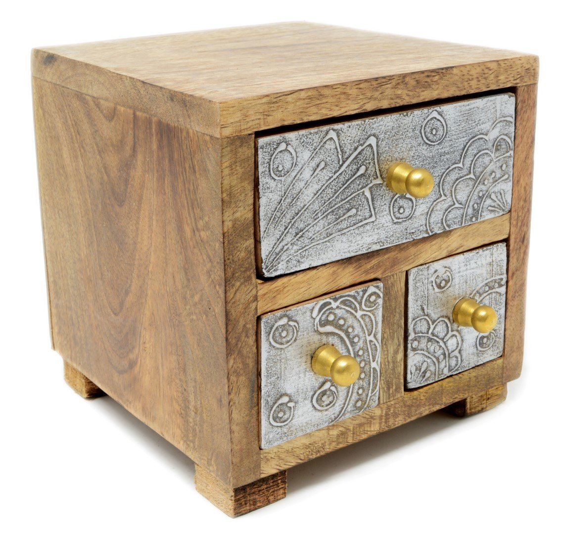 Piquaboo Solid Wood Cube Mini Chest of Drawers (Silver)