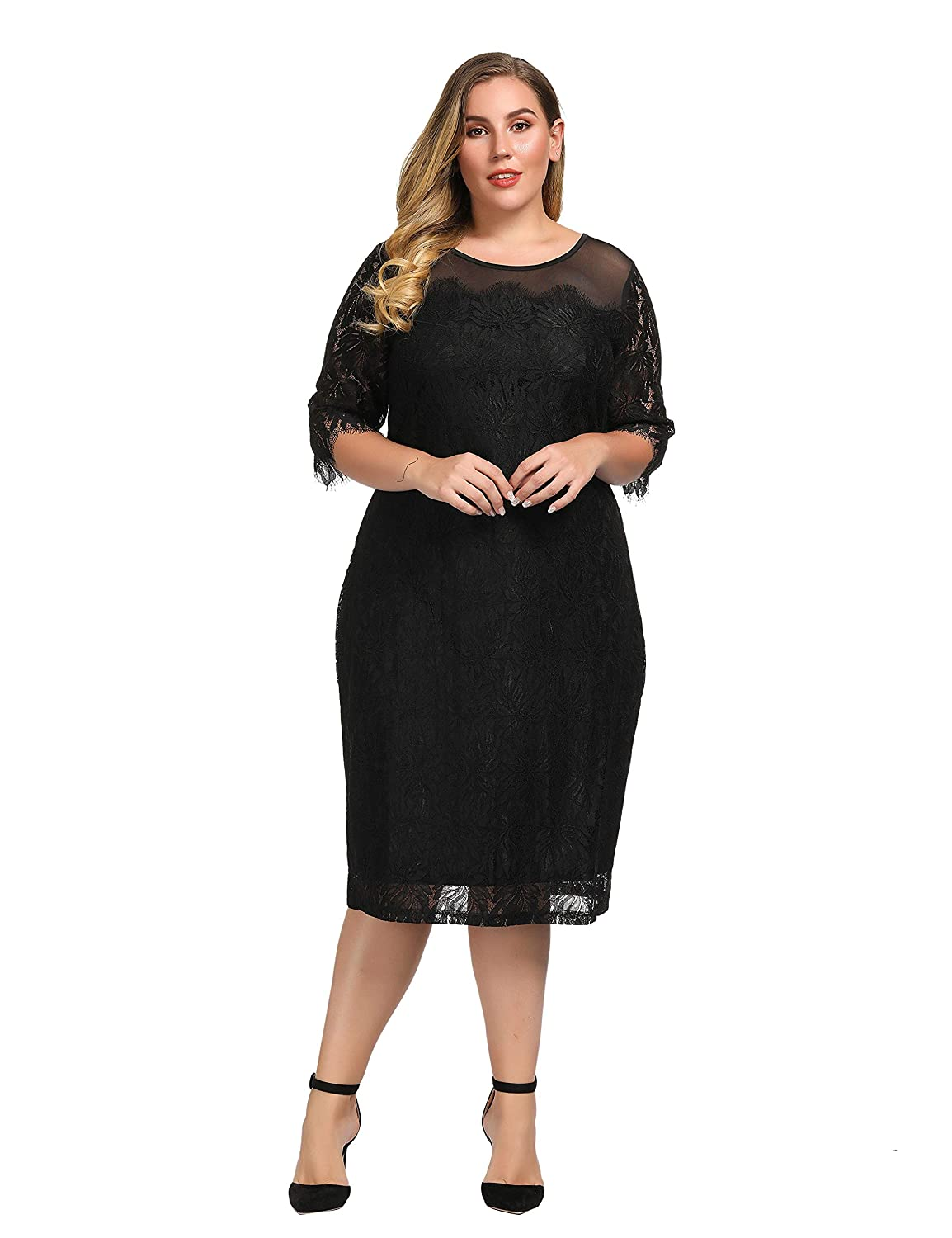 f6fd63155d3 Chicwe Women s Plus Size Guipure Applique Shift Dress with Mesh Top- Casual Party  Dress at Amazon Women s Clothing store