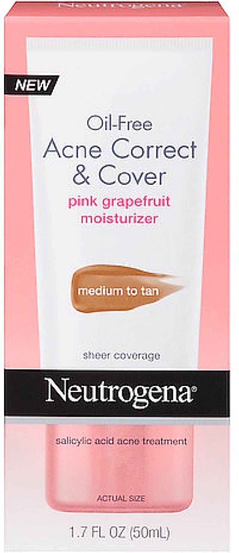 Neutrogena Oil-Free Acne Correct & Cover Pink Grapefruit Moisturizer, Medium to Tan 1.7 oz (12 Pack)