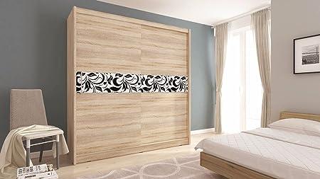 Sarah 5 A – 2 puertas correderas dormitorio luz blanca color marrón oscuro madera de roble armario de estilo moderno SONOMA OAK 180: Amazon.es: Hogar