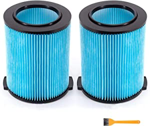 VF5000 Pleated Paper Vacuum Filter for Rigid Shop Vac 6-20 Gallon Wet Dry Vacuums WD1450 WD0970 WD1270 WD09700 WD06700 WD1680 WD1851 RV2400A (2 Pcs)