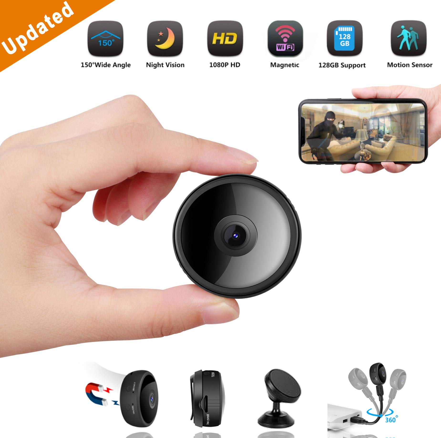 CreateGreat Mini Spy Camera Wireless Hidden Camera HD 1080P WiFi Camera Portable Home Security Cameras Nanny Cam Small Indoor Video Recorder Motion Activated Night Vision by CreateGreat