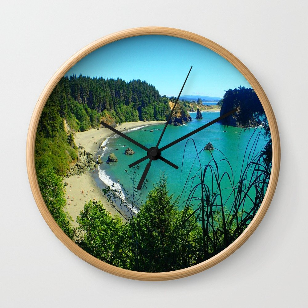Society6 College Cove Wall Clock Natural Frame, Black Hands