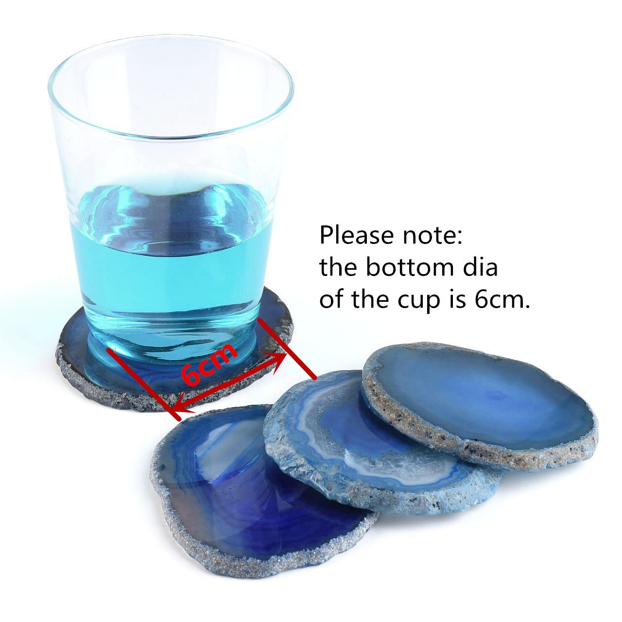 Drink Gift 2.95-3.15 Inches QGEM Set of 4 Natural Agate Slices Dyed Blue,Beverage Coasters Cup Mat,Irregular Healing Crystals Collection Home Decoration