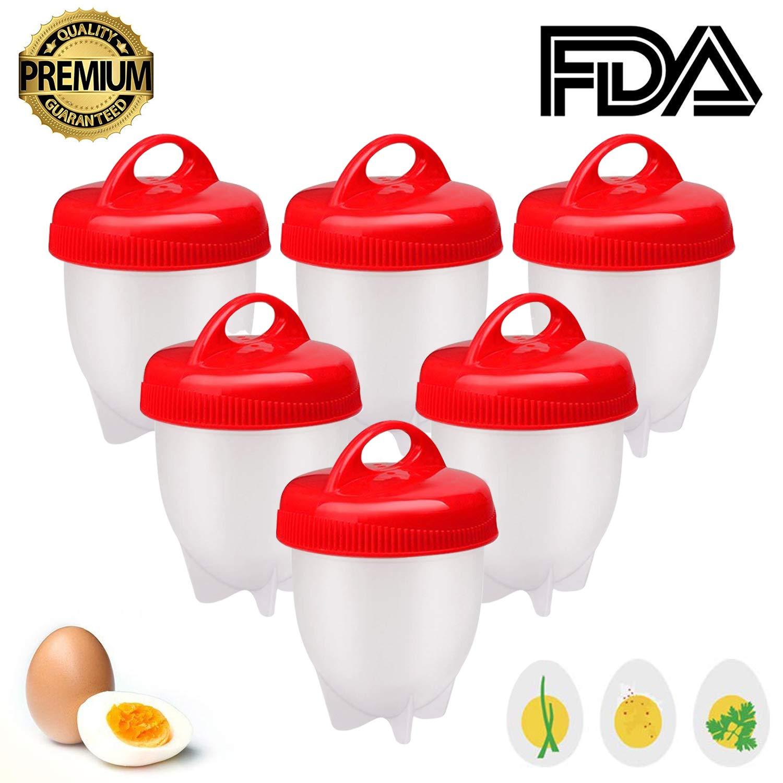 Cuoci Uova Sode, 6 Pezzi Cuociuova Bolli Uova Sode Silicone Senza Guscio Ovetti Strumento per Uova Sode Egg Cooker BPA Free. GOEU 1
