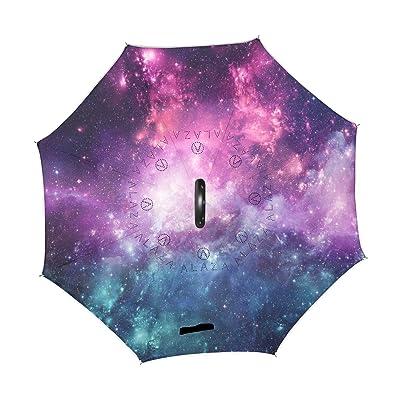 U LIFE Galaxy Stars Nebula Space Universe Reverse Inverted Sun Rain Umbrellas for Car Outdoor Use With C-shaped Handle