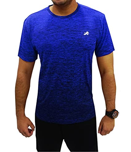 7c0bd282 ReDesign Apparels Men's Sportswear Gradient Grindle Round Neck T-shirt  (Blue, Small)